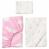 ХИММЕЛЬСК Комплект постельного белья, 3 предм, розовый, 110x125/35x55 см