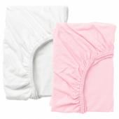 ЛЕН Простыня натяжн для кроватки, белый, розовый, 60x120 см