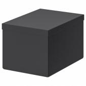 ТЬЕНА Коробка с крышкой, черный, 18x25x15 см
