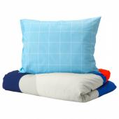 МЁЙЛИГХЕТ Пододеяльник и 1 наволочка, синий, графический орнамент, 150x200/50x70 см