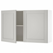 КНОКСХУЛЬТ Навесной шкаф с дверями, серый, 120x75 см