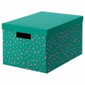 ТЬЕНА Коробка с крышкой, зеленый точечный, 25x35x20 см