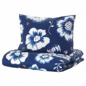 СОНГЛЭРКА Пододеяльник и 1 наволочка, цветок, темно-синий белый, 150x200/50x70 см