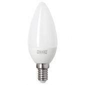 ЛЕДАРЕ Светодиод E14 400 лм,регулируемая яркость,свечеобразный молочный
