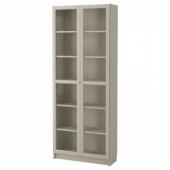 БИЛЛИ Шкаф книжный со стеклянными дверьми,бежевый