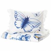 СОНГЛЭРКА Пододеяльник и 1 наволочка, бабочка, белый синий, 150x200/50x70 см