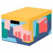 ТЬЕНА Коробка с крышкой, желтый, 25x35x20 см