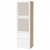 БЕСТО Комбинация д/хранения+стекл дверц, под беленый дуб, Сельсвикен глянцевый/белый матовое стекло, 60x42x193 см