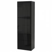БЕСТО Комбинация д/хранения+стекл дверц, черно-коричневый, Сельсвикен глянцевый/черный дымчатое стекло, 60x42x193 см