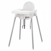 АНТИЛОП Высокий стульчик со столешн, белый серебристый, серебристый